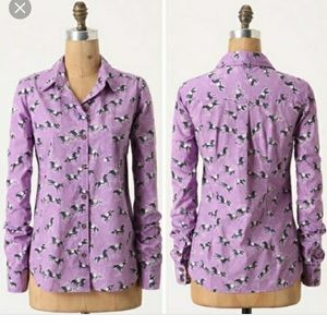 Anthropologie odille purple horse print button up
